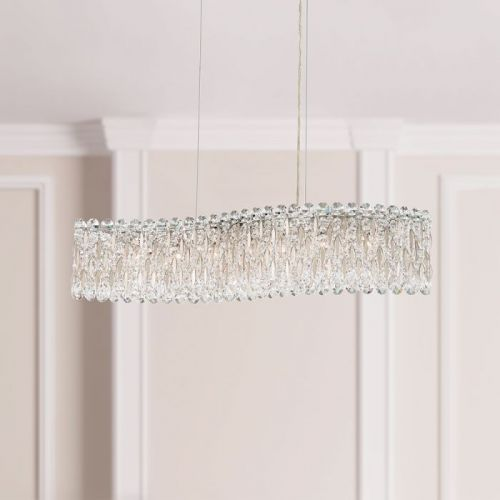 Schonbek Sarella 7 Light Bar Pendant Heritage Crystal Antique Silver Ceiling Fitting RS8346E-48H