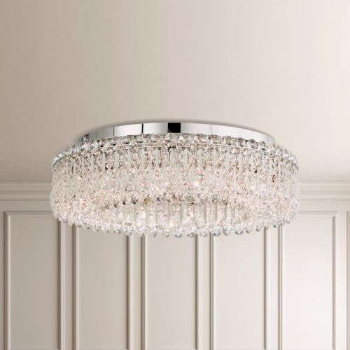 Schonbek Sarella 12 Light White Heritage Crystal Flush Ceiling Fitting RS8347E-06H