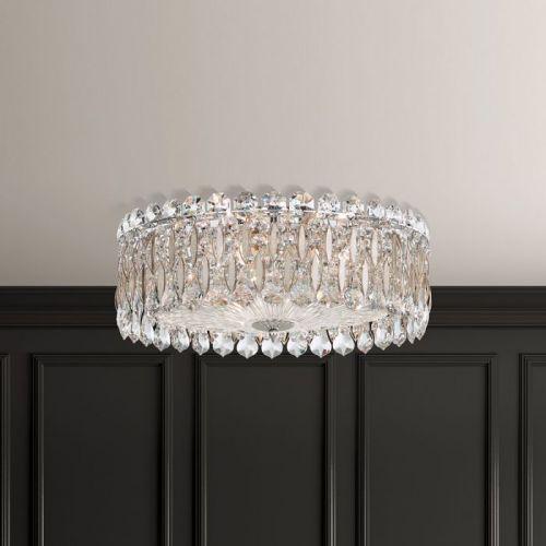 Schonbek Sarella 3 Light Flush Antique Silver Heritage Crystal Ceiling Fitting RS8348E-48H