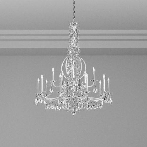 Schonbek Sarella 17 Light Chandelier Antique Silver Heritage Crystal RS8415E-48H