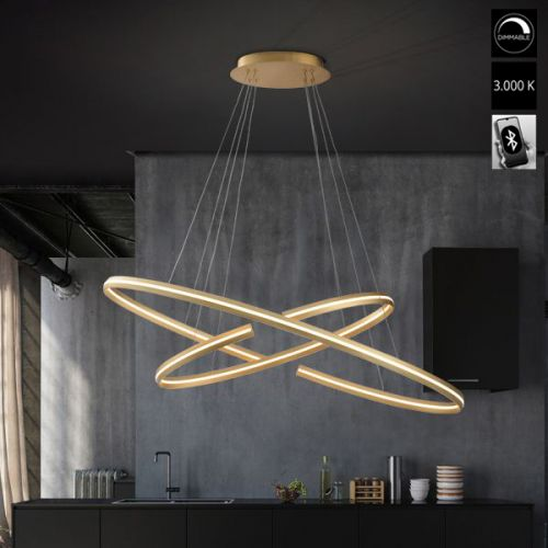 Schuller Elipse 652043B LED Large Ceiling Pendant Gold Frame Bluetooth Dimmable