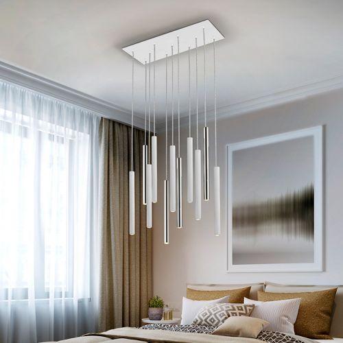 Schuller Varas 373378 LED 11 Light Chrome and White Ceiling Pendant