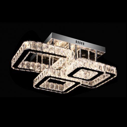 Semi-Flush 4 Square Crystal LED Light Fitting Remote Control Lekki Seine LEK110006
