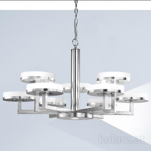 Kolarz Solis 10 Light Ceiling Chandelier Silver Leaf 6020.81050