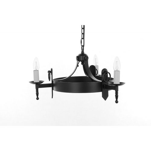 Impex SMRR00163/A Mitre 3 Light Aged Iron Ceiling Chandelier