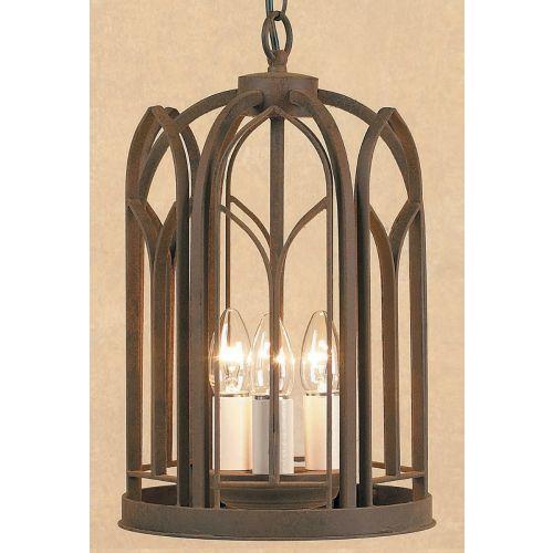 Impex SMRRV00001/A Villa 3 Light Aged Iron Ceiling Hanging Pendant Lantern