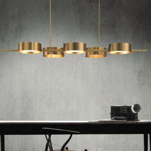 Masiero Sound Ceiling 191cm Bar Pendant 5 x G9 Brushed Gold SOUND-BIL5