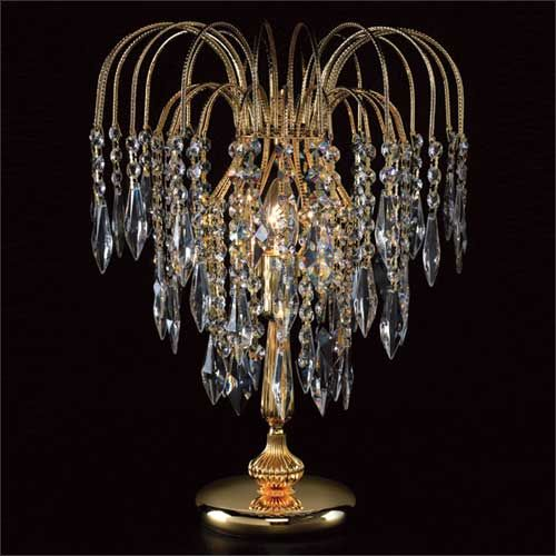 Impex ST01900/TL/G Shower 1Lt Gold Table Lamp With Heritage Prism Crystals