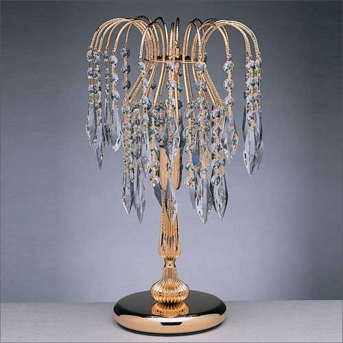 Impex ST02000/TL/G Shower 1Lt Gold Table Lamp Heritage Crystal