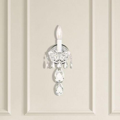 Schonbek 2990E-40H Sterling 1Lt Heritage Crystal Wall Light Silver