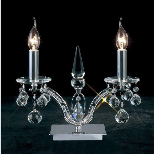 Diyas IL30040 Tara Table Lamp 2 Light Polished Chrome Crystal