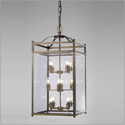 Diyas IL31115 Aston Pendant 12 Light Antique Brass/Glass