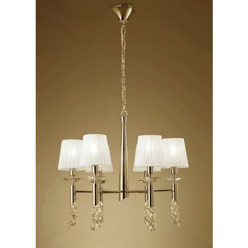 Mantra M3851FG Tiffany Pendant Fitting 12 Light French Gold White Shades Clear Crystal