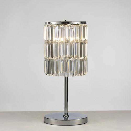 Diyas IL30178 Torre Crystal Curtain 3 Light Table Lamp Polished Chrome Frame