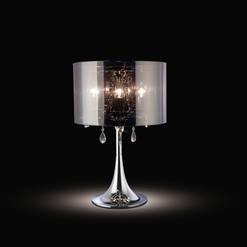 Diyas IL30462 Trace Table Lamp Chrome Shade 3 Light Polished Chrome PVC Crystal