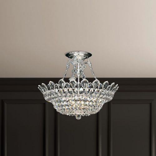 Schonbek Trilliane 10 Light Semi Flush Swarovski Crystal Chandelier 5797ES
