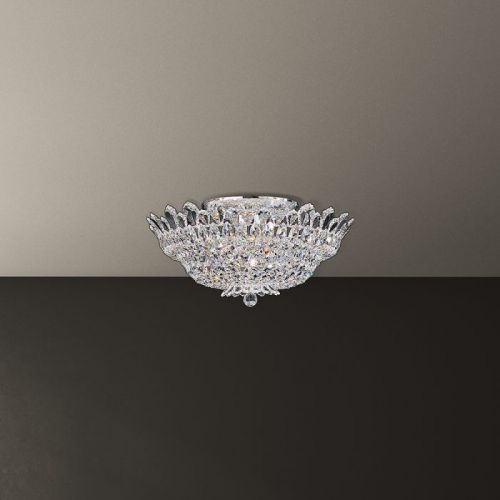 Schonbek Trilliane 10 Light Swarovski Crystal Flush Chandelier 5868ES Polished Chrome
