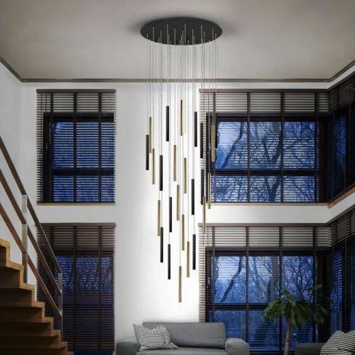 Schuller Varas 373968 25 Light Large Ceiling Pendant 3 Metre Drop Gold/Black