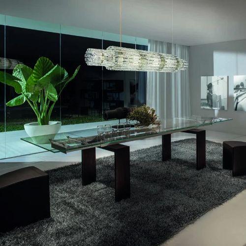 Masiero Vegas LED Glass Linear Bar Pendant Champagne Leaf MAS/VEGAS-BIL-180