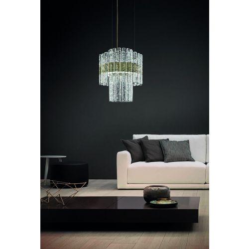 Masiero Vegas LED Round Glass Ceiling Pendant Champagne Leaf MAS/VEGAS-S-RD-40-DB