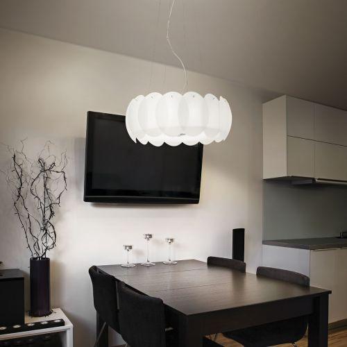 Ideal Lux 090481 Ovalino 8 Light Pendant White Frame