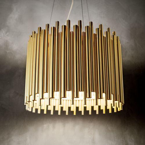 Ideal Lux 208817 Pan 5 Light Pendant Gold Frame