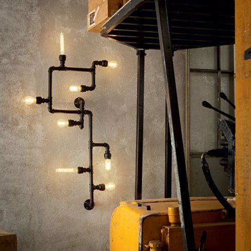 Ideal Lux 136714 Plumber 8 Light Flush Wall Light Matt Black Frame