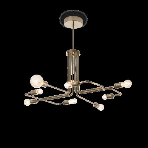 Ideal Lux 160269 Triumph 8 Light Multi-Arm Pendant Fitting Antique Brass