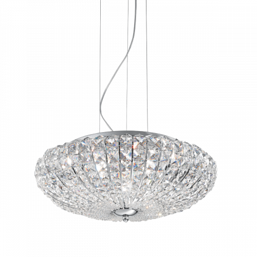 Ideal Lux 023328 Virgin Crystal 6 Light Pendant Chrome Frame