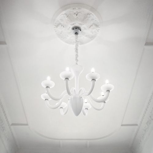 Ideal Lux 019390 White Lady 8 Light Chandelier White Frame
