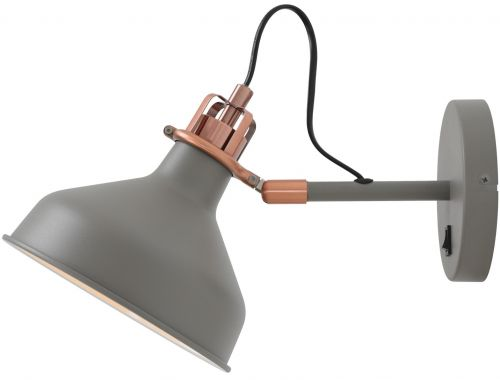 Switched Wall Lamp Sand Grey Copper White Lekki Blake LEK3042
