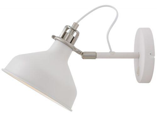 Switched Wall Lamp Sand White Satin Nickel White Lekki Blake LEK3043