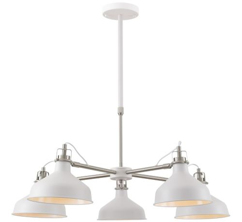 Multi-Arm Pendant Light Fitting Telescopic Sand White Satin Nickel White Lekki Blake LEK3051