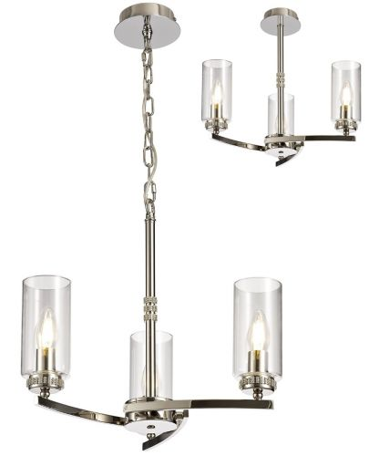 Semi Flush/Pendant Ceiling Light Fitting Nickel Lekki Dyani LEK3085