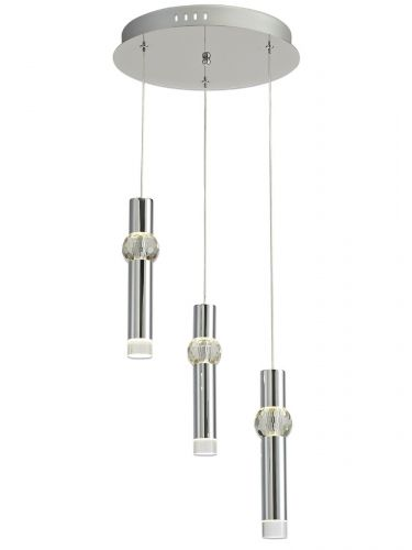 Round Pendant Light Fitting LED 2m Chrome Lekki Luna LEK3149