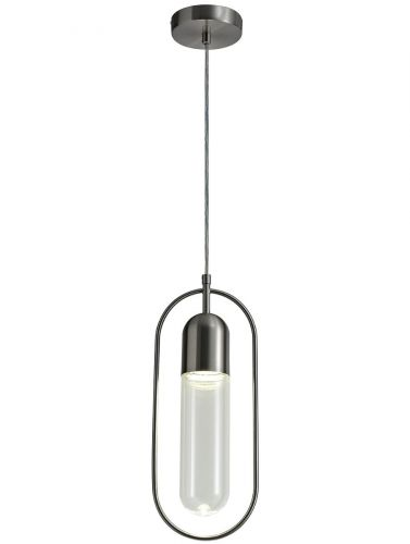 LED Ceiling Pendant Light Fitting Satin Nickel Clear Lekki Nifty LEK3231