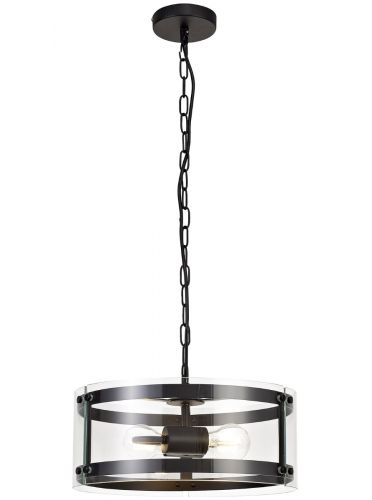 Ceiling Pendant 2 Light Fitting Matt Black Lekki Perla LEK3247