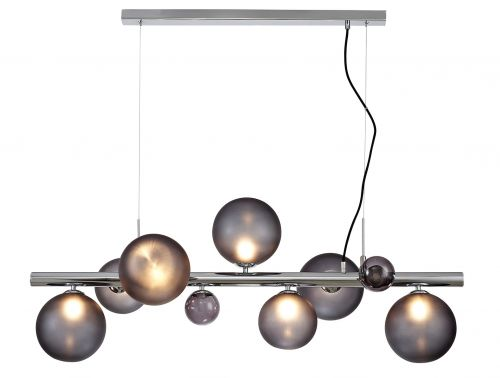 Bar Ceiling Pendant Light Fitting Chrome Smoked Glass Lekki Rocco LEK3250