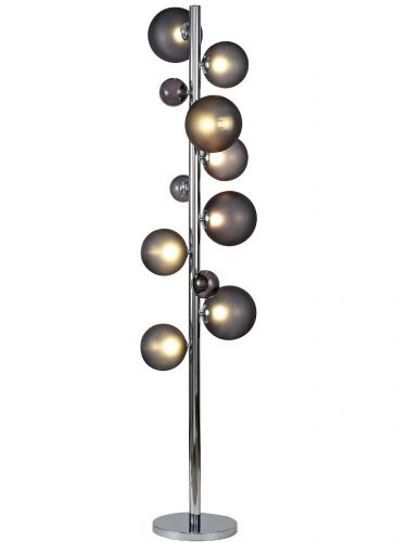 Floor Lamp 8 Light Chrome Smoked Glass Lekki Rocco LEK3251