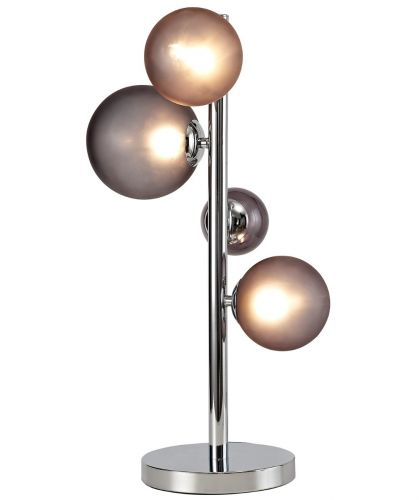 Table Lamp 3 Light Chrome Smoked Glass Lekki Rocco LEK3252