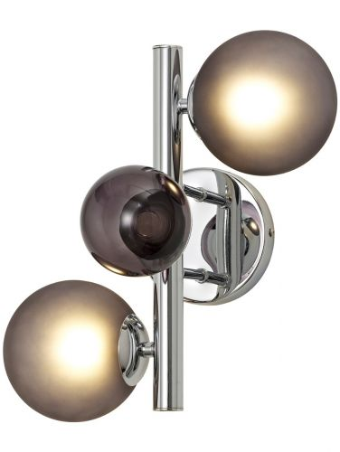 Wall Lamp 2 Light Chrome Smoked Glass Lekki Rocco LEK3253