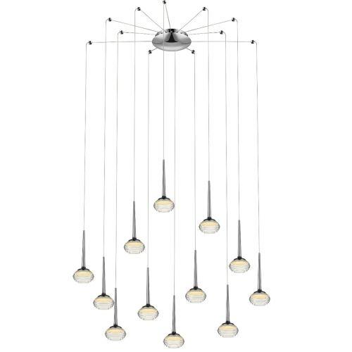 Decorative Pendant 12 Light Fitting Chrome Lekki Mata LEK7185