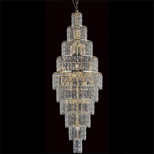 Impex CB03220/24/G New York 24 Light Czech Crystal Tall Ceiling Chandelier Gold