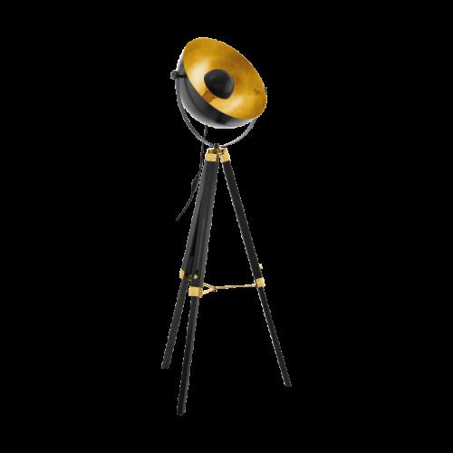 Eglo 49618 Covaleda Single Light Floor Lamp Black and Gold Frame