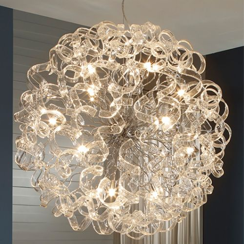 Schuller Nova 541450D Crystal 15 Light Ceiling Pendant Chrome Frame with Remote