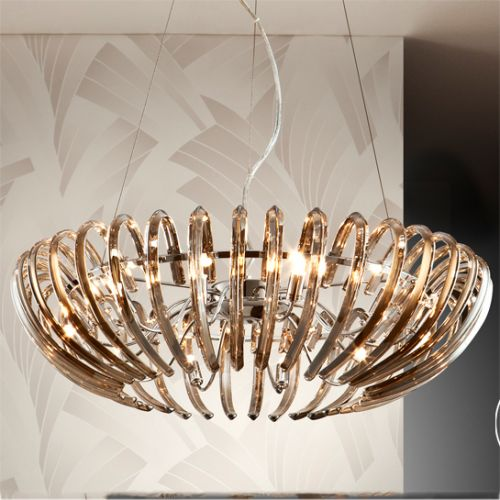 Schuller Ariadna 876124D Crystal 12 Light Ceiling Pendant Chrome Frame with Remote