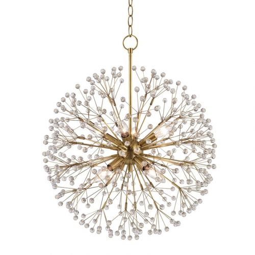 Crystal Pendant Chandelier 8 Light Aged Brass Hudson Valley Dunkirk 6020-AGB-CE