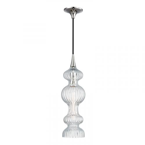 Glass Pendant Polished Nickel Hudson Valley Pomfret 1600-PN-CL-CE