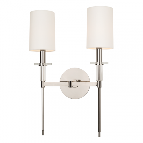 Twin Wall Light Polished Nickel Hudson Valley Amherst 8512-PN-CE