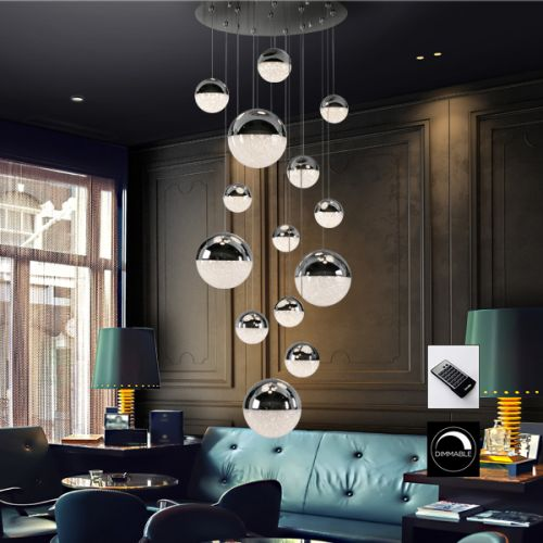 Schuller Sphere 793269D LED 14 Light Ceiling Cluster Pendant 3 Metre Drop Chrome with Remote